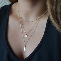 Women's Dainty Gold or Silver Dipped Multi Layers Bar Coin Necklace