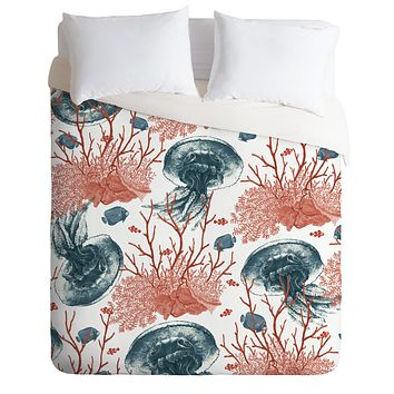 Belle13 Coral And Jellyfish Duvet Cover