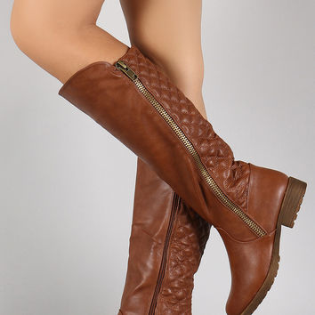 Bamboo Quilted Zipper Trim Riding Knee High Boots
