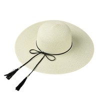 Summer Hats For Women Wide Large Brim Floppy Beach Hats Elegant Tassel Cap Straw Sun Hat