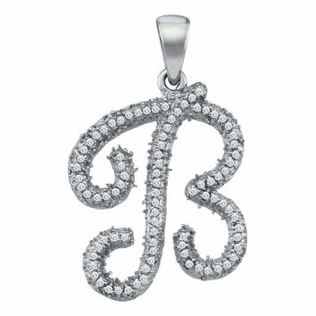 10kt White Gold Women's Round Diamond Cursive Letter B Pendant 1-6 Cttw - FREE Shipping (US/CAN)