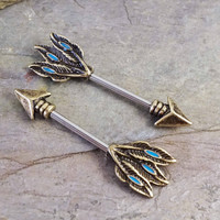 Gold Nipple Ring Nipple Barbell Tribal Arrow and Feathers
