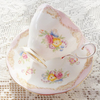 Antique Royal Albert Downton Abbey Bone China Footed Tea Cup and Saucer Set, Cottage Style, French Country, Elegant Tea Party