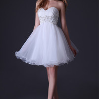 White Strapless Beaded Criss-Cross Cutout Back Homecoming Dress