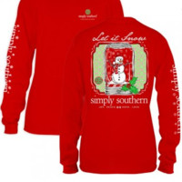 """Simply Southern Adult or Youth """"Let It Snow"""" Tee - Red"""
