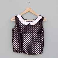 Polka Dot Crop Top with Peter Pan Collar by Kee Boutique