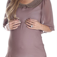Mocha-Beaded-Sheer-Maternity-Blouse