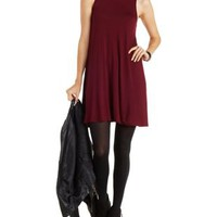 Burgundy Sleeveless Mock Neck Swing Dress by Charlotte Russe