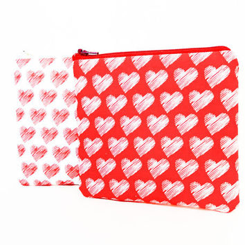 Heart Pouch, Fabric Zipper Pouch, Fabric Pouch, Pouch, Heart Coin Purse, Change Pouch, Gift for her, Gift under 20, Hearts in Red or Beige