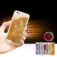 Glitter Stars Dynamic Liquid Quicksand Hard Case Cover For iPhone 4 5 5s SE 6 6s /6 plus back cover Transparent Clear Phone Case