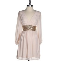 Pretty Sheer Blush Pink Gold Cocktail Party Dress Sequin Long Sleeve