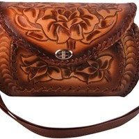 Tooled Leather Mexican Barrel Purse Handcrafted Handbag Made in Mexico