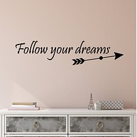 Vinyl Wall Decal Stickers Motivation Quote Words Follow Your Dreams Inspiring Letters 3853ig (22.5 in x 5 in)