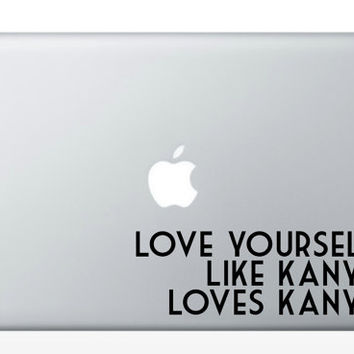 KANYE WEST loves KW// laptop, macbook, decal, hipster vinyl sticker, tell the world how cool you are.