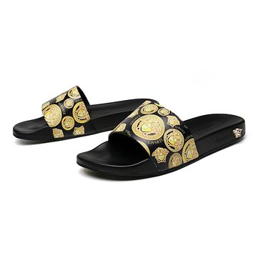 2021 Versace Men NEW ARRIVALS Leather High heeled Casual Flat Sandal Slippers Shoes
