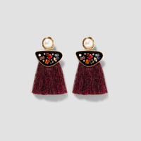 FAUX PEARL EARRINGS WITH FRINGE DETAILS
