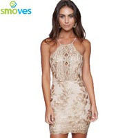 Gold Metallic Embroidery Dress Halter Back Cross Body con Dress Party Dresses