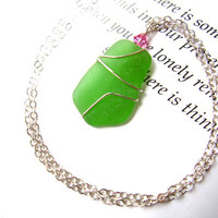 Juicy Green Sea Glass Wire Wrapped necklace by SeaglassGallery on Etsy