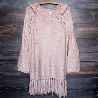 Gypsy Knit Hoodie Pullover Sweater in Dusty Pink