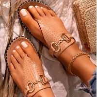 New hot sale fashion flat bottom chain flip flops shoes