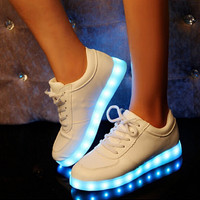 7 Colors Changable LED Luminous Shoes Unisex Led Casual Shoes Men & Women USB Charging Light Led Adults Flat Shoe