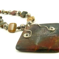 Gemstone Beaded Necklace Red Creek Jasper and Sterling Silver Large Square Pendant with Wirework