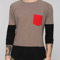 BDG Colorblock Slub Pocket Raglan Tee- Grey