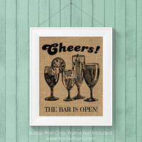 Burlap Printed Open Bar Print: Vintage Inspired / Retro Sign Perfect for a Special Event (Weddings / Graduations / Parties)