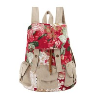 Ethnic Floral Print Canvas Backpack