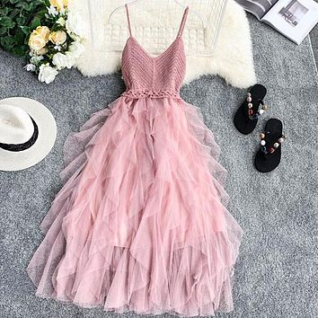 Lace Party Dress Solid Ruffles Knitting Patchwork Women Strap Dress Mesh Backless V-neck Long Dress Vestidos