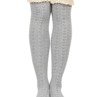 HEART AND LACE THIGH HIGH SOCKS