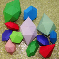 "Paper Diamonds & Gems // Origami ""Rupees"" and Gem Shapes for Home Decor, Gifts, Zelda Cosplay, Crib Mobile, or Any Other Use"