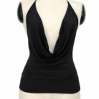 Strap Plunging Cowl Halter Top