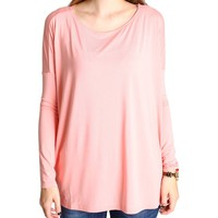 Peach Piko Long Sleeve Top