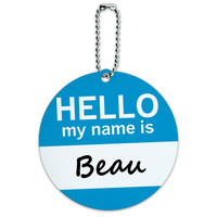 Beau Hello My Name Is Round ID Card Luggage Tag