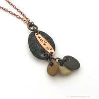 Natural Stone Necklace (River Rock, Nature, Funny Jewelry, Neutral Colors)