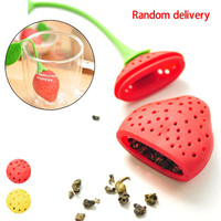 2pcs Strawberry Food grade silicone Strawberry Silicone Loose Tea Leaf Strainer Herbal Spice Infuser Filter Diffuser