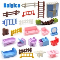 Big Building Blocks Table Chair Fence Accessories Sets Compatible Duplo Classic Bricks Furniture House Girl Toys children Gift