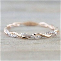 14K Rose Gold Stack Twisted Ring