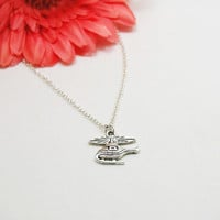 Helicopter Necklace - Charm Necklace - Helicopter Pendant - Silver Helicopter Charm - Chopper Necklace - Helicopter Jewelry - Whirlybird