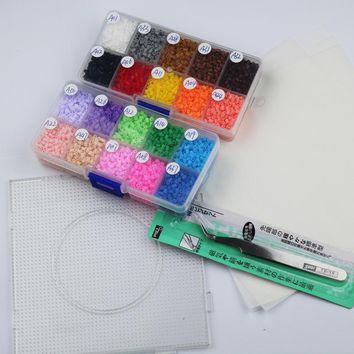 mini 2.6mm hama beads about 8400pcs 1 large pegboards 20 colors 2box set food grade EVA kids toys perler beads active iron beads