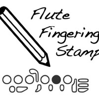 Flute Fingering Rubber Stamp -    A great teacher and student aid. (Piccolo, Musician, Music, Woodwind)