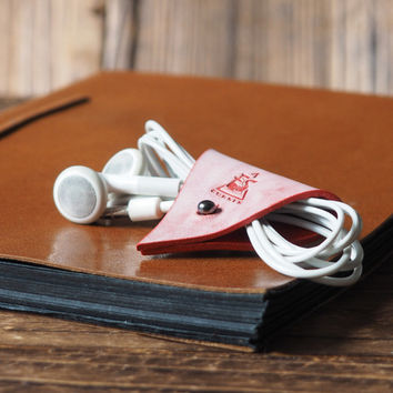 Leather Cord Holder Coated with Wax #Red