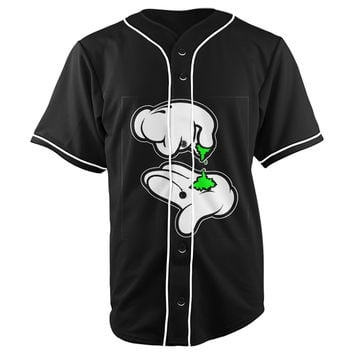 Mickey Hands Rolling Up Black Button Up Baseball Jersey