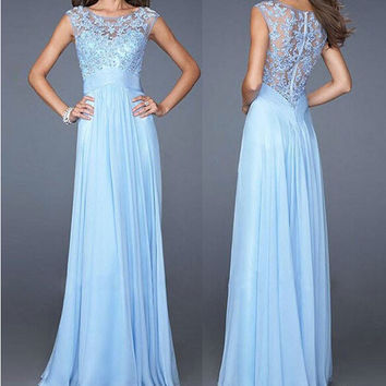 Ball Gown Sexy Slim Lace Chiffon Zippers 10-color Prom Dress [4919479044]