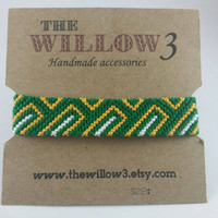 Green, Yellow and White Armband Friendship Bracelet - Pick Your Own Colors