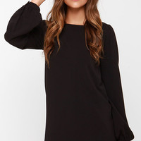 Perfect Situation Black Long Sleeve Shift Dress