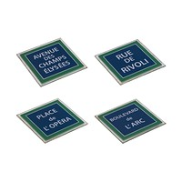 French Street Theme (Set of 4) Glass Coasters with Blue Enamel