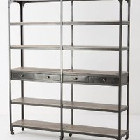 Decker Double Bookcase, Tall by Anthropologie in Silver Size: One Size Furniture