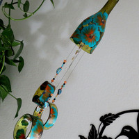 Wine bottle wind chime, Amber wind chime, Teal and Orange flowers, yard art, patio decor, recycled bottle wind chime, hand painted chime